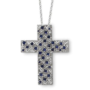 Sterling Silver September CZ Birthstone Cross Necklace, 18 Inch