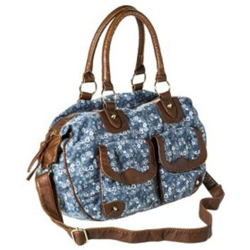 Mossimo Supply Co. Floral Satchel Handbag with Crossbody Strap - Blue