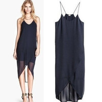 Summer Women's Fashion Chiffon Dress Spaghetti Strap Irregular One Piece Dress [4920237124]