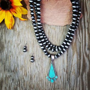Natural Stone Silver Beaded Turquoise Necklace