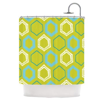 "Laurie Baars ""Hexy Lime"" Green Blue Shower Curtain"