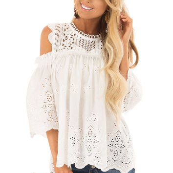 White Embroidered Cold Shoulder Blouse with Small Ruffles