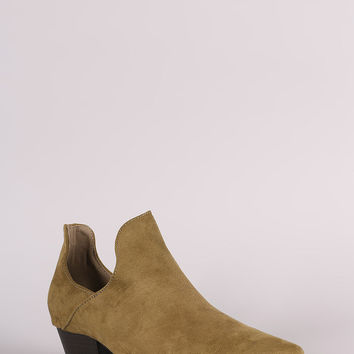 Suede Cutout Pointy Toe Western Booties