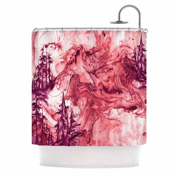 "Ebi Emporium ""Anything Worth Having, Coral"" Coral Purple Mixed Media Shower Curtain"