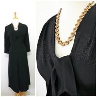 40s black crepe dress Embroidered design Slimarker Original Evening dress M/L