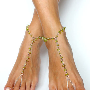 Garden Green Barefoot Sandals Anklet Foot Jewelry Unique Gift for a Gardener