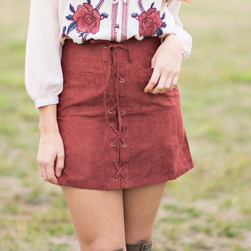 Sugar & Spice Lace Up Suede Skirt (Cinnamon)