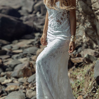 White Spaghetti Strap Sheer Panel Lace Sweep Maxi Dress