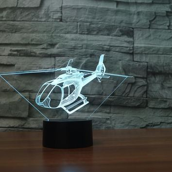 Helicopter 3D LED Night Light Lamp