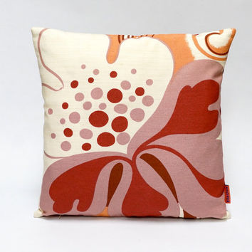 Vintage fabric cushion cover, 70s mid century retro throw pillow, 40x40 / 16x16