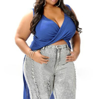 Blue Plus Size Twist Front Hi-Low Top