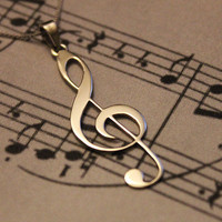 G clef Treble clef Necklace silver music note by Silversmith925
