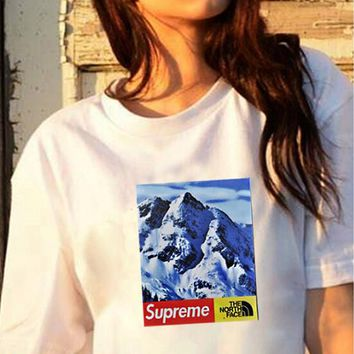Supreme X The North Face Fashion Women Men Snow Mountain Pattern Print Short Sleeve T-Shirt Top White I12037-57