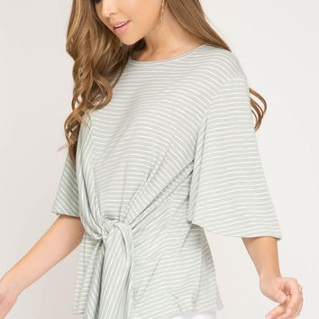 Women's Striped Half Sleeve Knit Top with Front Side Tie Detail