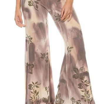 Tie Dye Knit Wide Cut Pants with Metallic Floral Print Detail and Elastic Waistband