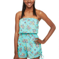 Floral Print Pull-On Cinch Short Romper