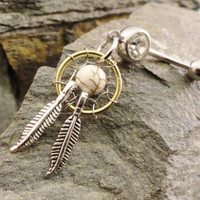 Dream Catcher Belly Button Ring Jewelry White by MidnightsMojo