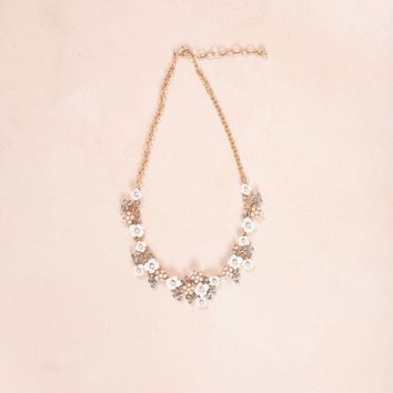 Erika White Flower Crystal Necklace