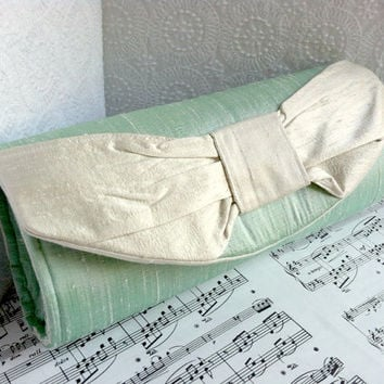 Mint green clutch purse, silk clutch, green and light gray, silver, bow clutch