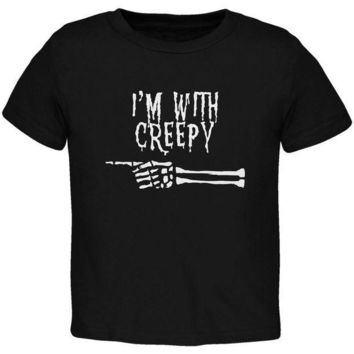 PEAPGQ9 Halloween I'm With Creepy Black Toddler T-Shirt