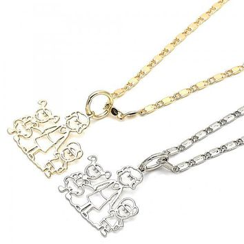 Gold Layered Fancy Necklace, Little Boy and Little Girl Design, Golden Tone