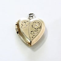 Antique Victorian Heart Locket Pendant Engraved 12K Gold Art Deco Charm Floral Locket