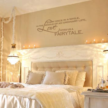 Love Gives Us A Fairytale - Vinyl Wall Decal Quote Lettering Decor - Romantic Bedroom Wall Art 11H x 28W LO006