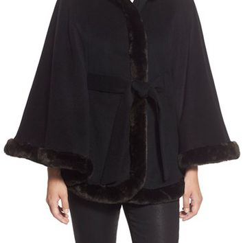 Women's Ellen Tracy Faux Fur Trim Wool Blend Cape,