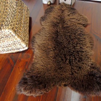 Wonderful Genuine Natural Soft Wool Sheepskin Rug - Choco / Brown Mix - ebSN 16
