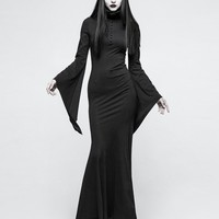 Black Gothic Dark Dress with Mask - Devilnight.co.uk