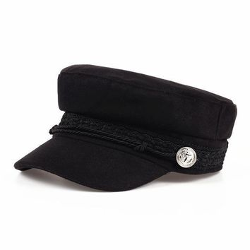 2017 Autumn and Winter Vintage wool Patchwork Beret Cap For Women England Style