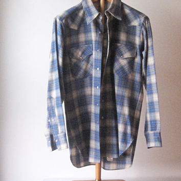 Vintage 70s Mens Pendleton Wool Western Plaid Shirt Pearl Buttons Medium