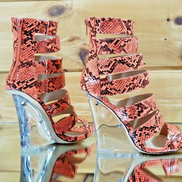 "Kenya Open Strap Orange Coral Snake Clear Wedge 4"" High Heel Ankle Boot Shoe"