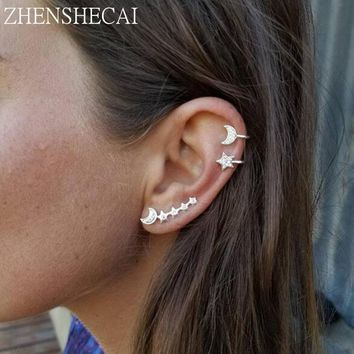 3 UNITS/SET handmade star moon Cuff Earrings Simple ear clip fashion Gift Jewelry earring for women accessories e0501