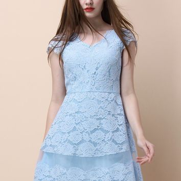 Back to Romanticism Blue Lace Dress