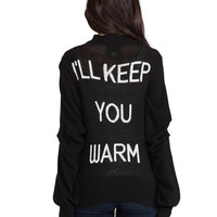 Wildfox Couture The Bonfire Ill Keep You Warm Cardigan in Dirty Black