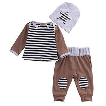 2016 kids boys Autumn style baby clothing sets  Newborn Kids Baby Boys Outfits Clothes T-shirt +Pants Legging+Hat 0-18M