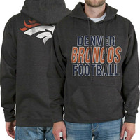 Mens Denver Broncos Gray Backfield Pullover Hoodie