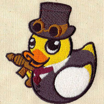 Steampunk rubber duck embroidered baby feeding by MorningTempest