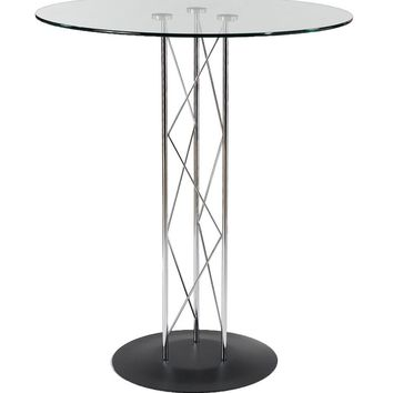 """Trave 32"""" Round Bar Table in Clear Tempered Glass with Chrome Column and Black Base"""