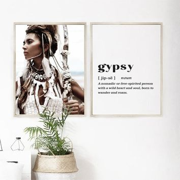 Woman Warrior Print Scandinavian Boho Poster Pocahontas Native white Feather Headdress Wall Art Canvas Painting Gypsy Art Decor