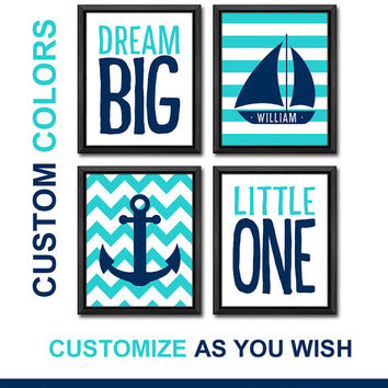 navy blue sail boat and anchor nursery wall art personalized sailing nursery decor nautical nursery gift ideas boys gift boys room anchor