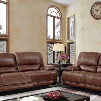 Furniture of america CM6571-PM 2 pc Nogales brown top grain leather match sofa and love seat with power motion recliner ends
