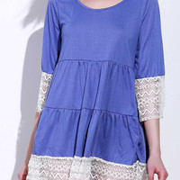 Casual U-Neck 3/4 Sleeve Lace Splicing Loose-Fitting Dress