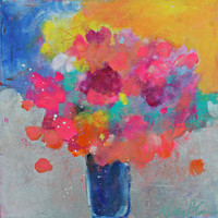"Abstract Floral Painting, Modern Colorful Flowers in a Vase, ""Morning Bouquet"" 12x12"""