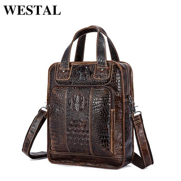 WESTAL Men Bag Genuine Leather New Designer Man Shoulder Crossbody Handbag Crocodile Pattern Leather Male Messenger Bag 9909