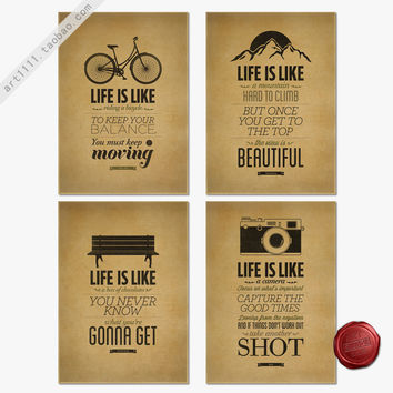Free ship LIFE IS LIKE vintage poster retro camera painting antique wall sticker cafe pub bar living room decor 42x30cm YTP-N001
