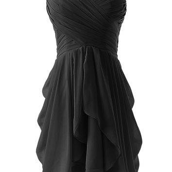 Black Ruched Sweetheart Neckline Pleated Mini Dress