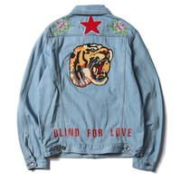 GUCCI Tiger Fashion Distressed Denim Cardigan Jacket Coat TOP