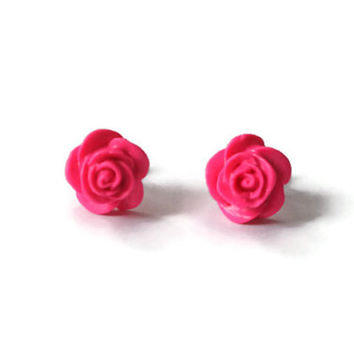 Candy Pink Polymer Clay Earrings, Cotton Candy Pink, Bright Pink, Pink Earrings, Pink Rose Earrings, Hot Pink, Hot Pink Earrings, Studs